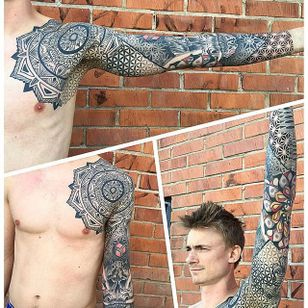 Geometric Tattoo by Marco Marini #geometric #blackgeometric #blackgeometry #patternwork #blackink #italianartist #MarcoMarini #sleeve