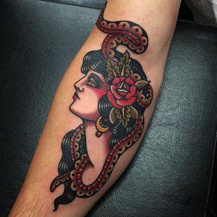 Traditional ladyhead with snake via @adamtruarn #adamtruarn #traditional #bold #traditionaltattoo #ladyhead #snake