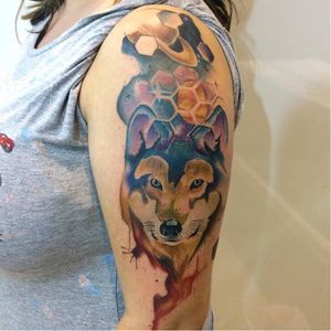 #ArthurOliveira #watercolor #aquarela #tatuadoresdobrasil #brasil #brazil #colorido #colorful #lobo #wolf #universo #universe #planeta #planet #saturno #saturn