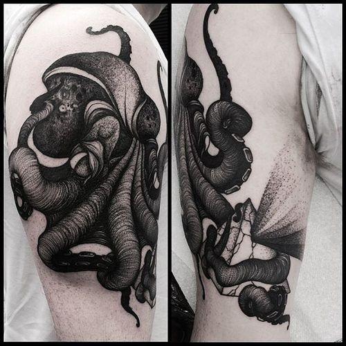Blackwork Octopus Tattoo by Kelly Violet #octopus #octopustattoo #octopustattoos #blackworkoctopus #blackworkoctopustattoo #blackwork #blackworktattoo #blackworktattoos #darktattoos #darkoctopus #blackink #blackinktattoo #KellyViolet