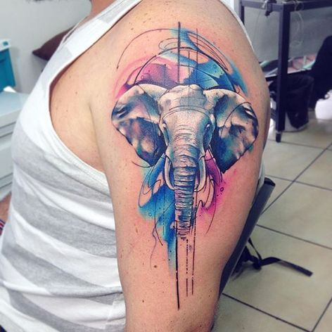 Elephant Tattoo by Adrian Bascur #Watercolor #WatercolorTattoos #WatercolorArtists #BoldWatercolor #BestWatercolor #ModernTattoos #ContemporaryTattoos #AdrianBascur #Elephant #Elephanttattoo