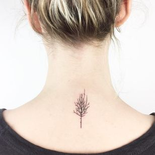 Amazing back of the neck leafless tree tattoo by Cagri Durmaz #CagriDurmaz #leaflesstree #tree #fall #drawing #sketch #blackworkers #linetattoo #blacktattoo #pine #forest #nature