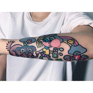 Cartoon style tattoo by Pikkapimingchen. #Pikkapimingchen #cartoon #cute #graphic