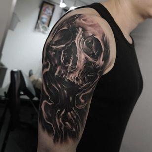 Skull half sleeve by Edgar Ivanov. #skull #halfsleeve #realism #blackandgrey #blackandgreyrealism #EdgarIvanov