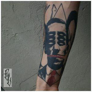 H. P. Lovecraft tattoo by Edgar Lanz #EdgarLanz #contemporary #blackwork #graphic #surrealistic #mashup #lovecraft
