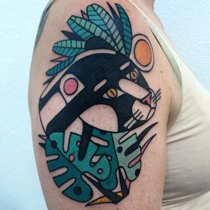 Panther tattoo by Luca Font #LucaFont #animaltattoos #color #abstract #cubist #nature #animal #graphic #panther #junglecat #cat #leaves #sun