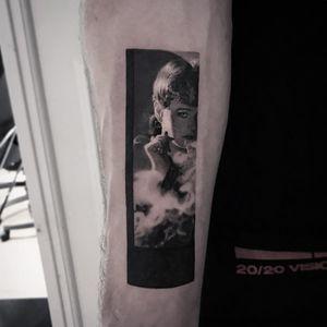Blade Runner tattoo by Cold Gray #ColdGray #blackandgrey #realism #realistic #hyperrealism #BladeRunner #filmstill #movietattoo #smoke #smoking #SeanYoung #film #actress