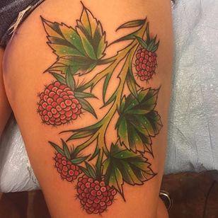 Fresh raspberries ready for the picking. Tattoo by @blaketattoo. #raspberry #fruit #blaketattoo #botanical #blaketattoo