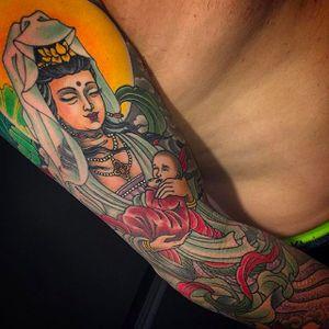 Kannon, the goddess of mercy, adorning this arm by Matt Beckerich #MattBeckerich #japanese #japanesetattoo #kannon #goddess