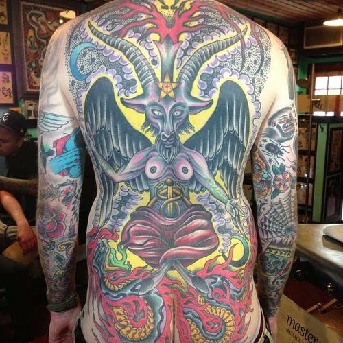 Baphomet Tattoo by Matt Arriola #baphomet #occult #darkart #occultart #goat #satanicgoat #MattArriola