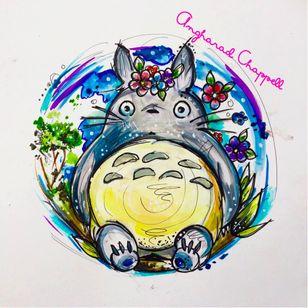 Totoro tattoo design by Angharad Chappell #AngharadChappell #Totoro #StudioGhibli