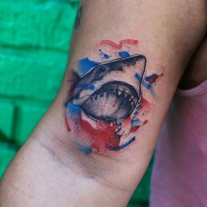 Shark attack by Georgia Grey. #illustrative #sketchy #watercolor #GeorgiaGrey #shark
