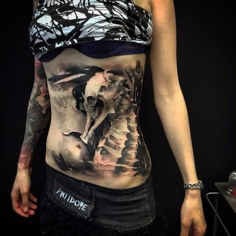 Dark seahorse tattoo by Neon Judas #NeonJudas #DavidRinklin #blackandgrey #realistic #realism #macabre #horror #seahorse