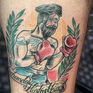 Hipster boxer, by Damián Santana #DamiánSantana #traditionaltattoo #boxertattoo #boxer #traditional