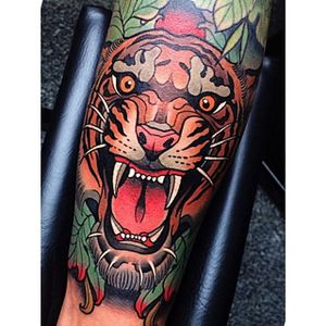 A growling tiger. #JohnnyDomus #neotraditional #traditional #tiger #growl