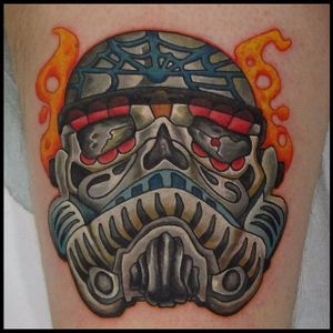 Sugar Skull Stormtrooper Tattoo by John Thrasher Thiel #stormtroopersugarskull #stormtroopertattoo #stormtrooper #sugarskull #sugarskulltattoo #dayofthedead #starwars #starwarstattoo #JohnThrasherThiel