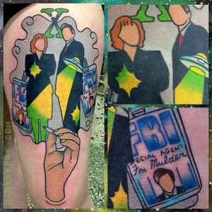 X-Files themed traditional piece by Kane Berry. #XFiles #Scully #Mulder #traditional #faceless #aliens #FBI #KaneBerry