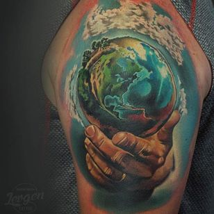 Incredible earth tattoo by @levgen_eugeneknysh #earth #earthtattoo #climatechange #planetearth