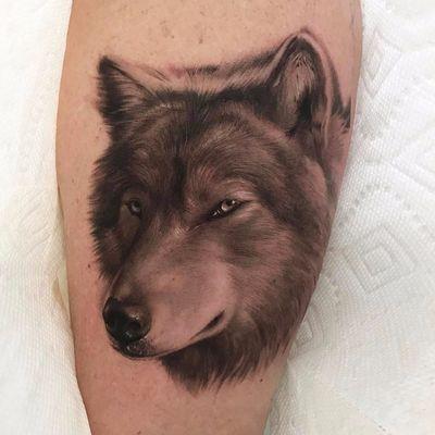 Lone wolf by Jamie Mahood #JamieMahood #realism #realistic #hyperrealism #blackandgrey #wolf #animal #dog #coyote #forest #nature #tattoooftheday
