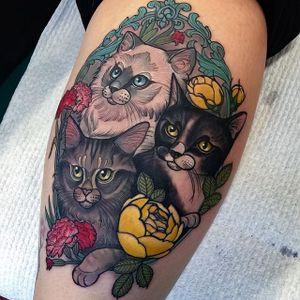 Cat Tattoo by Hannah Flowers #cat #cattattoo #neotraditional #neotraditionaltattoo #neotraditionaltattoos #neotraditionalartist #HannahFlowers