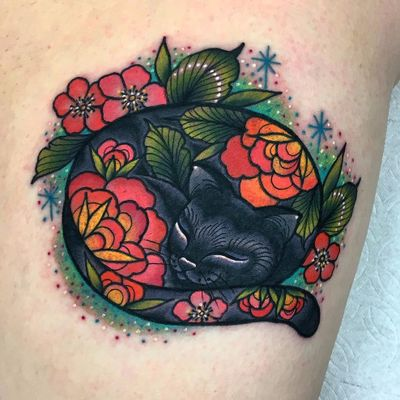 Curled up cutie by Roberto Euán #RobertoEuan #color #newtraditional #petportrait #cat #kitty #cute #flowers #peony #cherryblossom #leaves #nature #floral #sparkle #stars #glitter #tattoooftheday