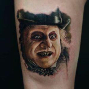Awesome portrait tattoo of the Penguin from Batman. Tattoo done by KarolRybakowski #portrait #Penguin #Batman #KarolRybakowski
