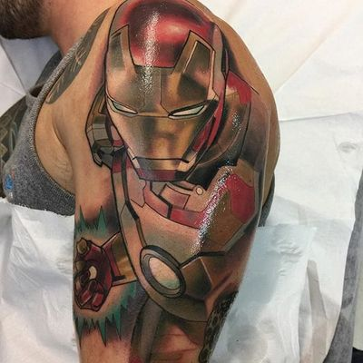 An action-packed portrait of Marvel's Iron Man by Roger Mares (IG—mares_tattooist). #IronMan #Marvel #neotraditional #portraiture #RogerMares
