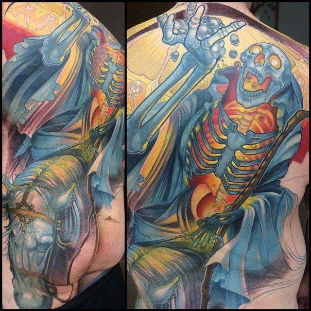 Skeleton Back Tattoo by Steve Moore #back #backtattoo #backpiece #largetattoos #bigtattoos #SteveMoore