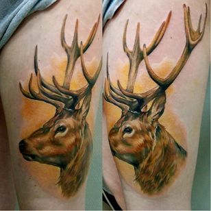 Noble stag tattoo. #GienaRevess #realistic #realism #3D #photorealism #stag