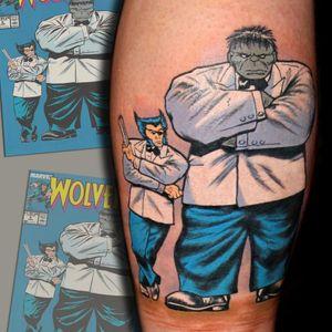 Wolverine and Hulk. (via IG - chrisfiftyone) #Wolverine #WolverineTattoo #XMen #XMenTattoo