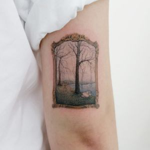 Secret place tattoo by Doy #tattooistdoy #doy #landscapetattoo #realism #realistic #hyperrealism #watercolor #painterly #landscape #swans #forest #trees #lake #nature