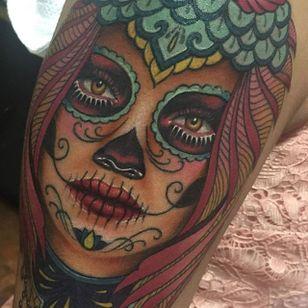 Pretty sugar-skull lady via @megan_massacre #meganmassacre #sugarskull #ladyhead