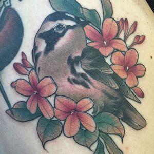 Bird and flowers tattoo by Kaitlin Greenwood. #neotraditional #flora #fauna #bird #flowers #KaitlinGreenwood
