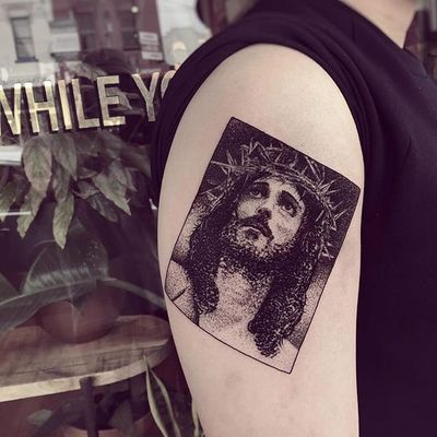 Religious box portrait tattoo by Charley Gerardin. #CharleyGerardin #box #portrait #contemporary #pointillism #blackwork #dotwork #handpoke #JesusChrist #jesus #religious #catholic