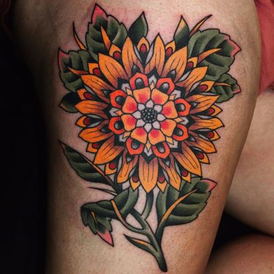 Mandala sunflower by Ben Rorke #benrorke #sunflower #mandala #color #flower #leaves #traditional #tattoooftheday