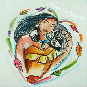 Pocahontas tattoo design by Angharad Chappell #AngharadChappell #Disney #Pocahontas
