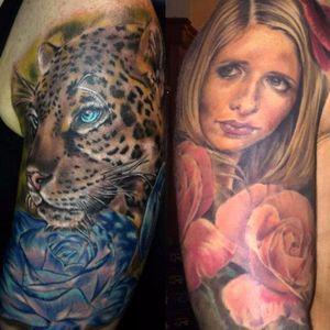Sarah Michelle Gellar - Instagram: @tattoolucia #SarahMichelleGellar #Buffy #Buffythevampireslayer #celebritytattoo #portrait #celebrityportrait
