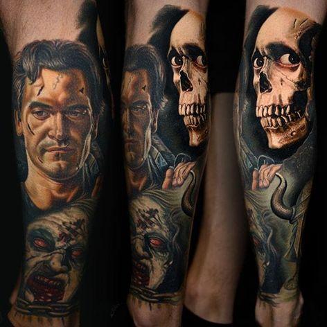 A badass Evil Dead sleeve from Nikko Hurtado (IG—nikkohurtado). #Ash #BruceCampbell #color #demonicpossession #NikkoHurtado #portraiture #realism #skull