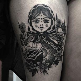 Russian Doll Tattoo by Jaffa Wane #russiandoll #russiandolltattoo #blackwork #blackworktattoo #blackworkartist #darkart #JaffaWane