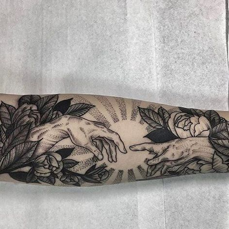 Sistine Chapel reference with flowers, by Kyle Stacher. (via IG—thiefhands) #blacktattooing #dotwork #kylestacher
