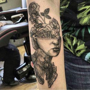 Flower Vase Face Tattoo by Jonathan Love @Jonald_Juck #JonathanLove #Black #Blackwork #Oddtattoos #Blackworkers #EODTattoo #Denver #Flowervasetattoo