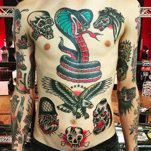 Rad and powerful frontal tattoos by Alex Wild. #AlexWild #traditionaltattoo #boldtattoos #fronttattoos #eagle #bulldog #gorilla #crossbones #cobra #skull #horse
