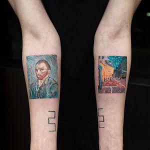 Van Gogh portrait by Eva Krbdk #EvaKrbdk #portraittattoos #color #painting #vangogh #landscape #watercolor #impressionism #fineart #famouspainting #painter #France #cafe #stars #nightsky #tattoooftheday