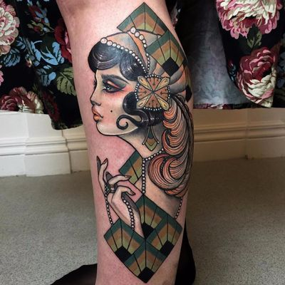 Art Deco lovely by Hannah Flowers #hannahflowers #artdeco #lady #portrait #pinup #feather #pearls #pattern #geometric #color #tattoooftheday