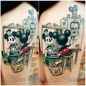Mickey Mouse tattoo by Miss Mae La Roux. #MissMaeLaRoux #waltdisney #classic #disney #retro #mickeymouse #cartoon #vintage