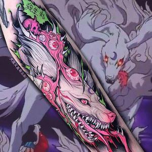 Demon dog tattoo by Brando Chiesa #BrandoChiesa #darkarttattoos #color #newschool #anime #manga #graphic #popart #eyeballs #skull #demon #dog #wolf #kitsune #kanji #tattoooftheday