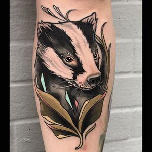 A crazy ass honey badger by Brian Povak (IG—brian_povak). #animalheads #BrianPovak #critters #honeybadger #neotradition