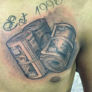 This 19 year old loves money! By Yoshi Silva. (via IG -- yoshi_tats) #yoshisilva #money #moneytattoo