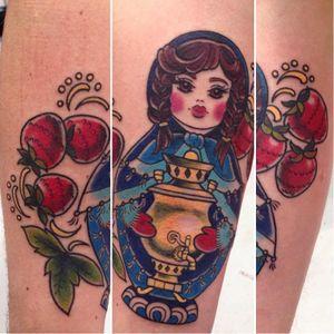 Russian doll tattoo by Helga Hagen #HelgaHagen #traditional #russian #colorful #russiandoll