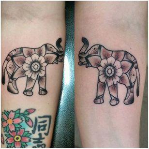 Elephant Tattoo by Andrew Tamayo #matchingtattoos #couplestattoos #couple #AndrewTamayo